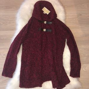 Micheal Kors long ruby/black sweater with buckle